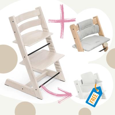 STOKKE Tripp Trapp Aktion Stuhl+Kissen = gratis Baby Set, Whitewash