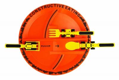 Constructive Playing Teller + Besteck, Baustelle
