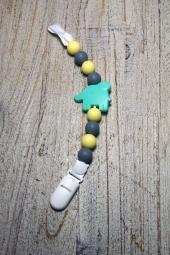 milkii Schnullerkette aus Silikon mit Clip, Elefant türkis Perlen gelb/grau
