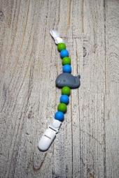 milkii Schnullerkette aus Silikon mit Clip, Walfisch grün/blau Perlen
