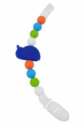 milkii Schnullerkette aus Silikon mit Clip, Walfisch blau/Regenbogen
