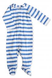 Aden Anais Strampler (Reissverschluss), Ultramarine - Blazer Stripe