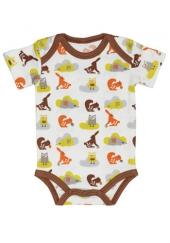 Fresk Babybody Bio-Baumwolle, kurzarm, Braune Eichhörnchen
