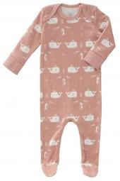 Fresk Babypyjama Bio-Baumwolle, mit Füsschen, Wal rosa