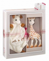 Geschenkset Sophie La Giraffe, Giraffe + Schmusetuch
