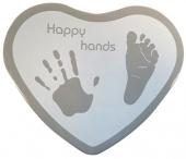 Hand & Fußabdruckset Happy Hands - Herzform, weiss