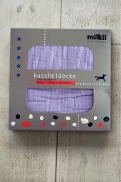 Milkii Kuscheldecke aus 100% Musselin-Baumwolle, Lila Nebel