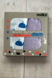 Milkii Nuschi-Set (2er Pack) 100% Musselin-Baumwolle, Walfisch / Lila Nebel