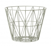 Ferm Living Wire Basket, Dusty Green, klein