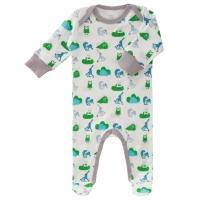 Fresk Babypyjama Bio-Baumwolle, mit Füsschen, Blaue Eichhörnchen