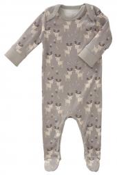 Fresk Babypyjama Bio-Baumwolle, mit Füsschen, Deer ash grey