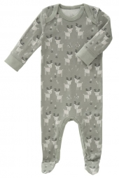 Fresk Babypyjama Bio-Baumwolle, mit Füsschen, Deer forest grey