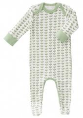 Fresk Babypyjama Bio-Baumwolle, mit Füsschen, Leaves Mint
