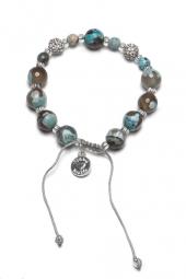 Proud MaMa Armband, Agat, Blau / Grau