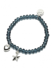 Proud MaMa Armband, Stern / Herz Blau