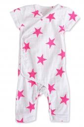 Aden Anais Strampler (Kimono), Shocking Pink Star