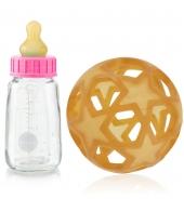 Hevea Babyflasche aus Glas, Pink