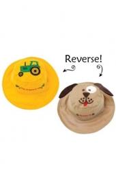 Flapjackkids wendbarer Sonnenhut mit UV-Schutz - Traktor/ Hund *neu*