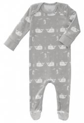 Fresk Babypyjama Bio-Baumwolle, mit Füsschen, Wal Grau