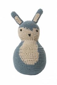 Sebra Häkel-Stehaufmännchen, Kaninchen, Pastell Blau