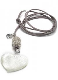 Proud MaMa Halskette, Murano Herz, Grau