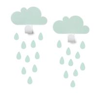 Tresxics Wandhaken Wolken mit 20 Regentropfen-Stickers, Mint
