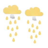 Tresxics Wandhaken Wolken mit 20 Regendropfen-Stickers, Yellow